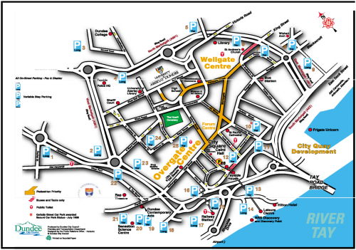 Dundee tourist map - with parking places, public toilets, pedestrian lanes